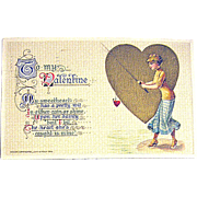 SALE Winsch Schmucker 1914 Valentine Postcard--Fishing for a Heart