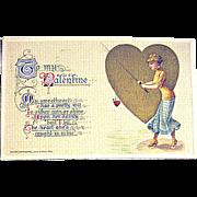 SALE Winsch Schmucker 1914 Valentine Postcard--Fishing for a Heart