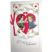 SALE RARE Unused Winsch, Freixas Designed, Valentine Booklet Postcard