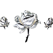 SALE Beautiful Crown Trifari Rose Brooch and Clip Earrings Set