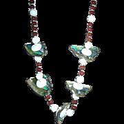 "SALE Glamorous Miriam Haskell 28"" MOP Shell Cinnabar Oriental Necklace"