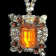 SALE Gorgeous Vintage Large Emerald Cut Pendant Necklace