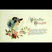 SALE Winsch 1914 Pristine Condition Valentine Postcard—Beautiful Woman