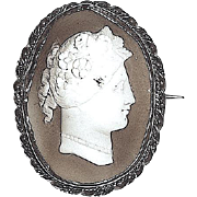 SALE 1860-1880 Oval Carved Dark Brown Shell Cameo Portrait Brooch