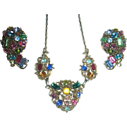 SALE Hollycraft Colorful Rhinestone Necklace and Earrings