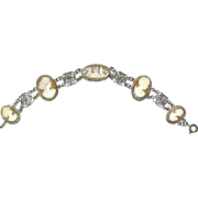 Beautiful Carved Shell Cameo Bracelet—Cupids and Goddess Figures