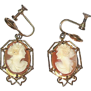 Delicate Vintage Shell Cameo Earrings—Beautifully Carved Goddesses