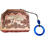 SALE 20's Oriental Dance Vanity Compact w Bead Closed Wristlet—free shipping