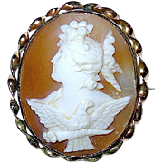 SALE Beautiful High Relief Carved Cameo Brooch--Hera and Eagle
