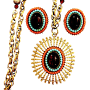 """SALE Egyptian Revival Designed Necklace and Earrings — signed """"ART"""""""