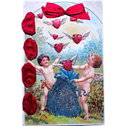 SALE Rare Valentine Postcard—Factory Decorated with Silk Ribbon and Glassine