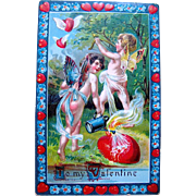 SALE Very Colorful German Valentine—Naughty Fairies Shoot Hearts