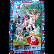 SALE Very Colorful German Valentine—Naughty Fairies Shoot Hearts