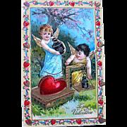 SALE Exceptional German GEL Valentine Postcard Series 210—Cupids Preparing Gifts (2 of 2)