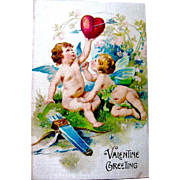 SALE Winsch Silk Covered Valentine Postcard—A Wounded Heart