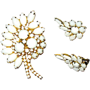 SALE Unworn D and E / Juliana Milk Glass Brooch and Earrings—free shipping