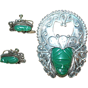 SALE Vintage Mexican 925 and Silver Tribal Mask Brooch and Earrings--free shipping
