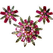 SALE Judy Lee Five Tier Rhinestone Brooch w Earrings—free shipping