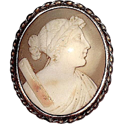 SALE Greek Goddess Artemis/ Roman Goddess Diana Carved Cameo Brooch