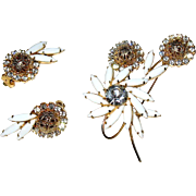 SALE Figural Juliana/D & E Flower Brooch and Earrings--Book Pieces