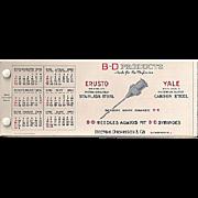 Celluloid Ink Blotter Booklet BD Needle for a Syringe Premium 1930