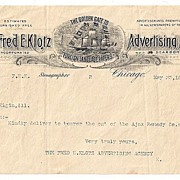 Fred E. Klotz Advertising Agency  Chicago 1896 Letter delivered by a Courier
