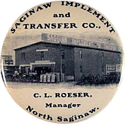 Celluloid Covered 'Saginaw Implement and Transfer Co., North Saginaw' Pocket Mirror