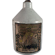 Mini Stoneware Jug with A Christmas Label from Whitewater, Wisconsin