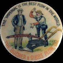 The Bucher & Gibbs Plow Co. Celluloid Pinback Button