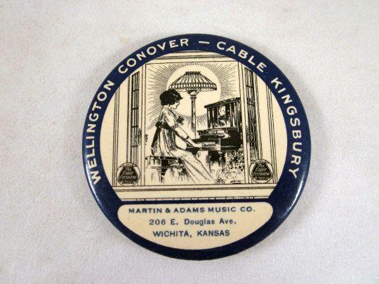 Wellington Conover - Cable Kingsbury Piano Pocket Mirror Advertising Premium