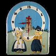Tin Lithograph Dutch Children Electric Wall Clock