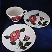 """Blue Ridge 'Red Nocturne Variant' Two 6"""" Plates and a Cup"""