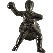 Cracker Jack 1920s Baseball Player Metal Collar Stud Premium