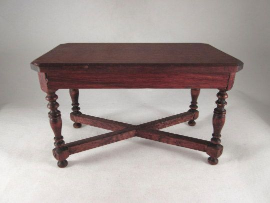 "German 1"" Red-Stained Library Table Dollhouse Furniture"