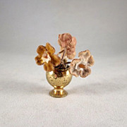 Metal Vase with Flowers Dollhouse Accessory