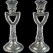 Pair Soft Metal Candlesticks 'Shield' Design Dollhouse Accessories