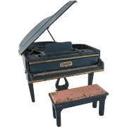 """Arcade 1-1/2"""" Cast Iron Cable Grand Piano and Bench Dollhouse Furniture HTF"""