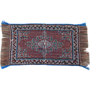 Blue & Red Oriental Tobacco Freebie Rug Dollhouse Accessory #1