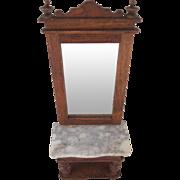 """Schneegas 1"""" Golden Oak Pier Mirror/Hall Stand Dollhouse Furniture"""