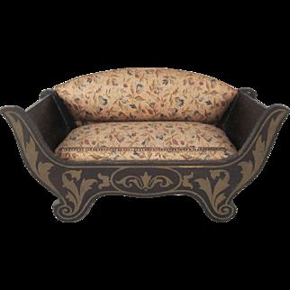 "Biedermeier 3/4"" Sofa with a Floral Cotton Print and Dresden Trim Dollhouse Furniture"