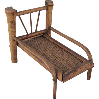 """Made in Japan Early 3/4"""" Bamboo Chaise Lounge Dollhouse Furniture"""