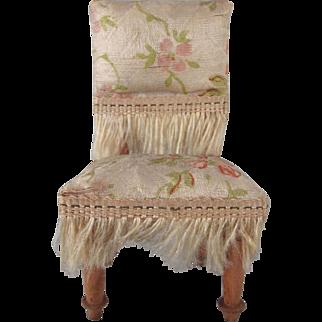 "Silk Covered 3/4"" Parlor Chair Dollhouse Furniture"