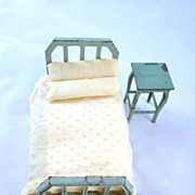 """Tootsie Toy 1/2"""" Bed and Night Stand Dollhouse Furniture"""