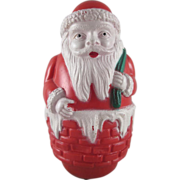 Celluloid Large Santa Santa in Chimney Roly Poly Rattle