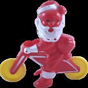Rosbro Hard Plastic Santa on a Motorcycle Candy Holder Christmas Decoration