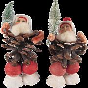 Vintage Pair of Made in Japan Pine Cone Santas