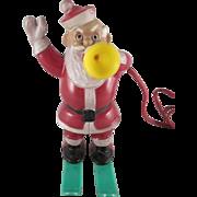 Rosbro Hard Plastic Santa on Skis Blowing a Horn Light Works