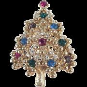 Eisenberg Christmas Tree Pin with Rhinestone Ornaments