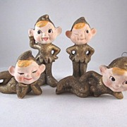 SOLD Ceramic Sparkly Christmas Elves Ornaments Set of 4