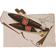 Early Embossed Christmas Card with Cigars and a Cigarette